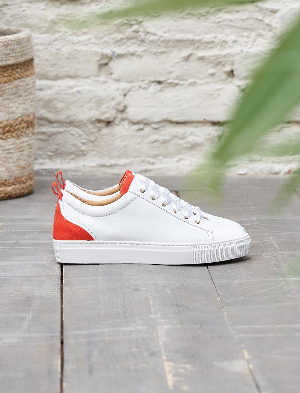 Sneakers Lola - Blanc et Carmin