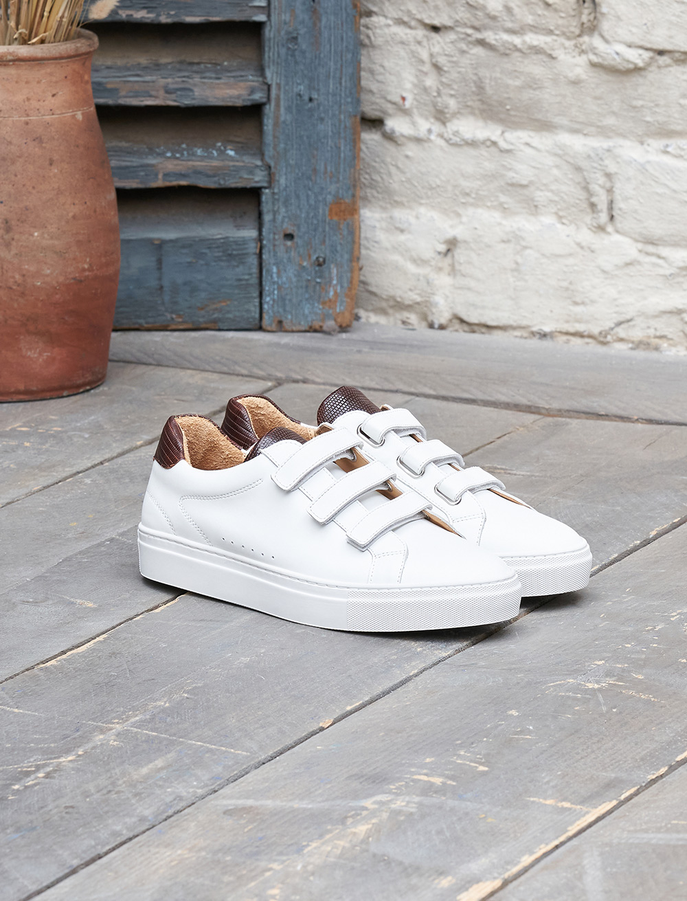Sneakers Sam - Blanc et Acajou