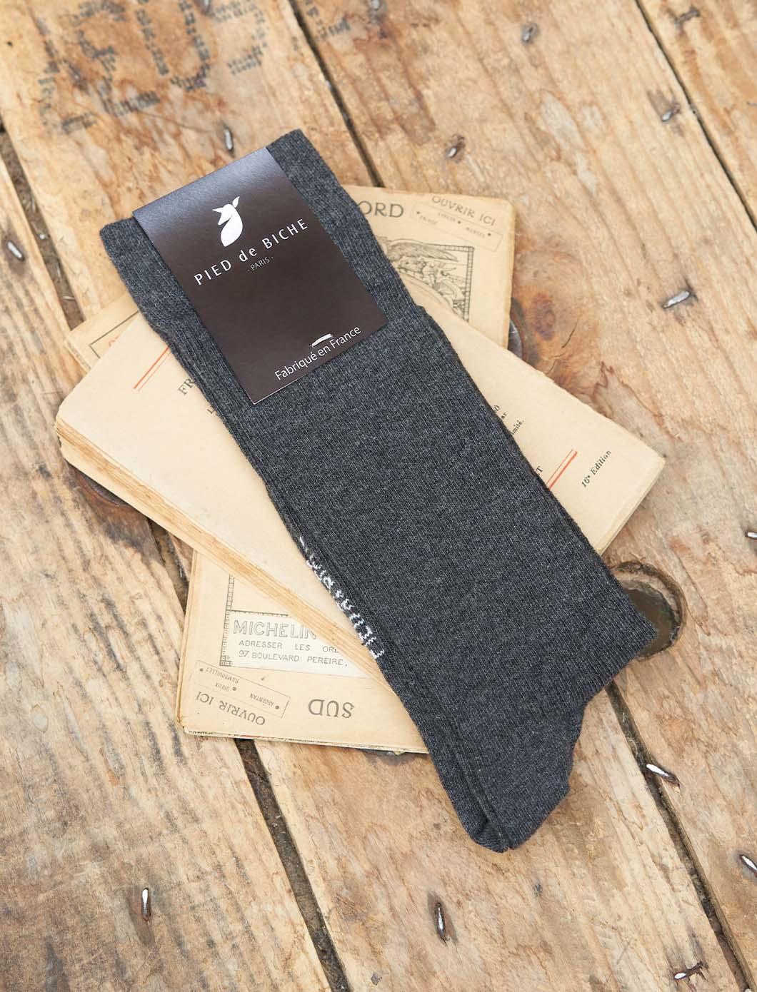Chaussettes côtelées - Anthracite chiné
