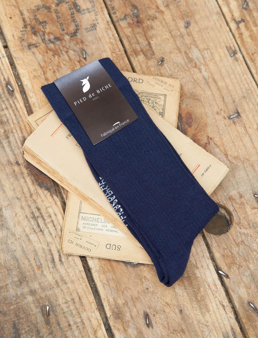Chaussettes côtelées - Marine