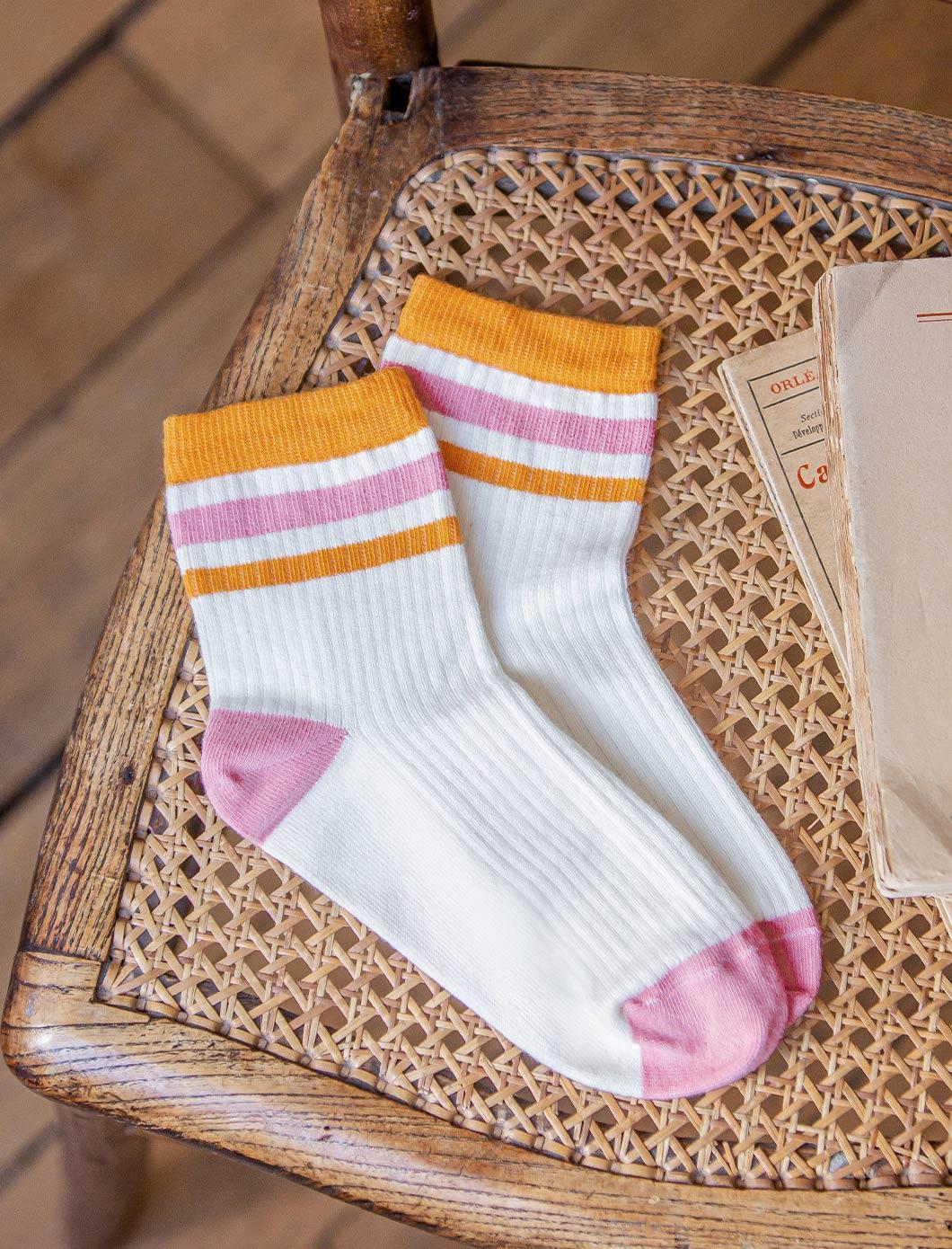 Chaussettes côtelées Sport - Ecru, moutarde et saumon
