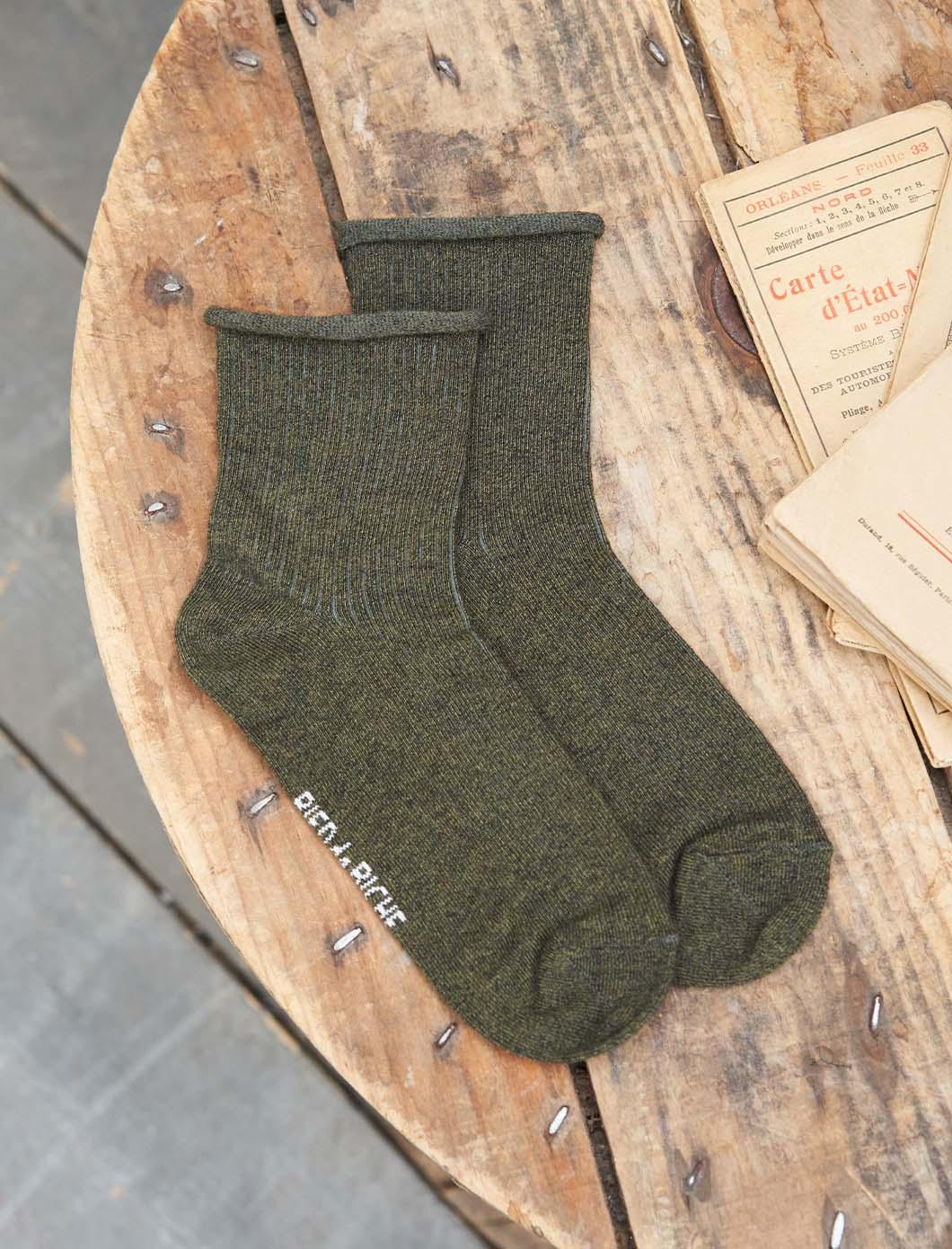 Chaussettes côtelées - Kaki chiné