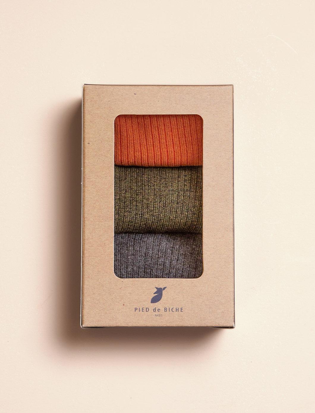 Chaussettes Côtelées Unies - Trio pour femme