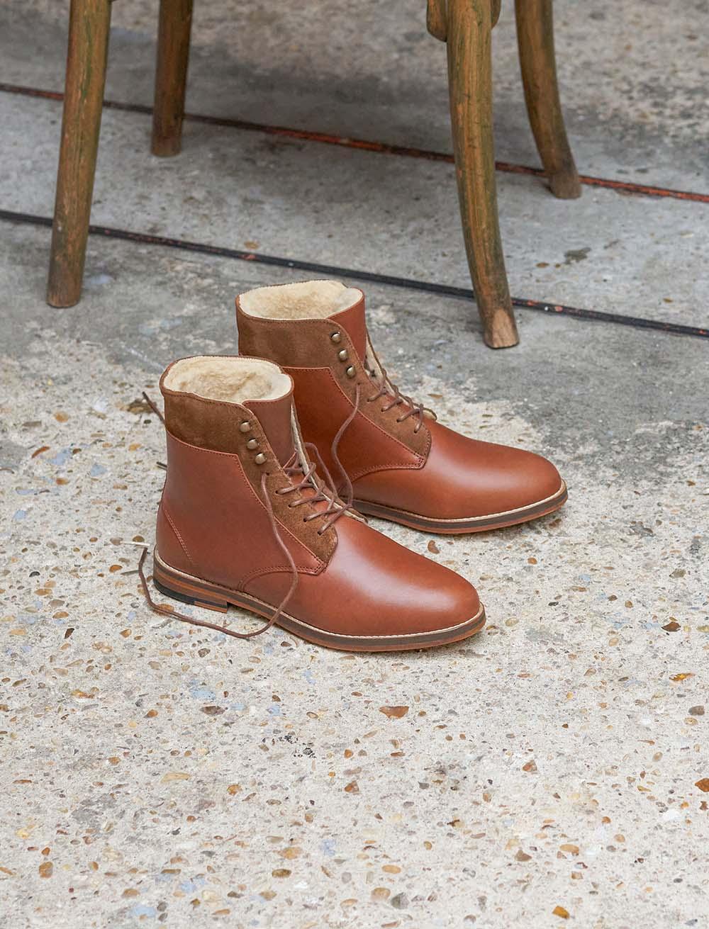 Combat boots Gabrielle Fourrées - Havane