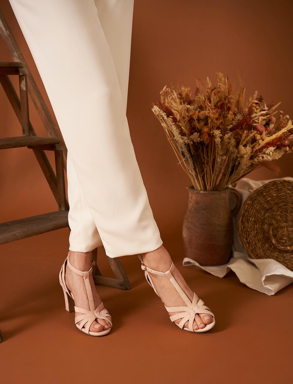 Sandales à talon Carmen - Pêche