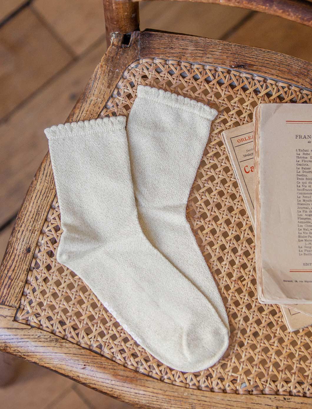 Chaussettes maille ajourée - Doré pailletté