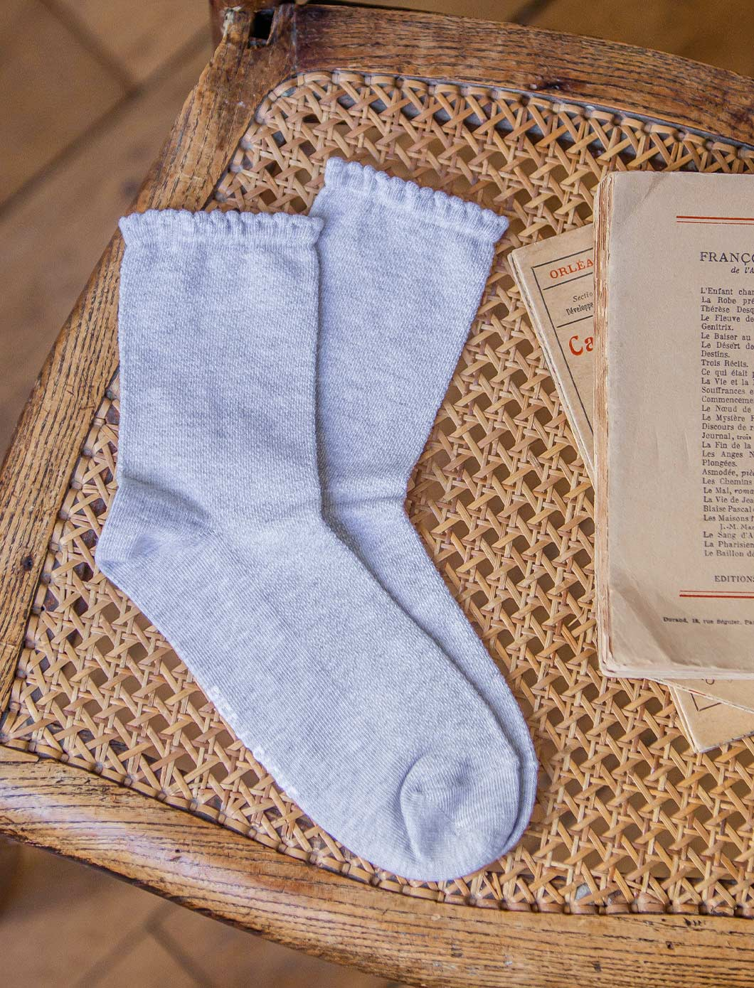 Chaussettes maille ajourée - Gris chiné