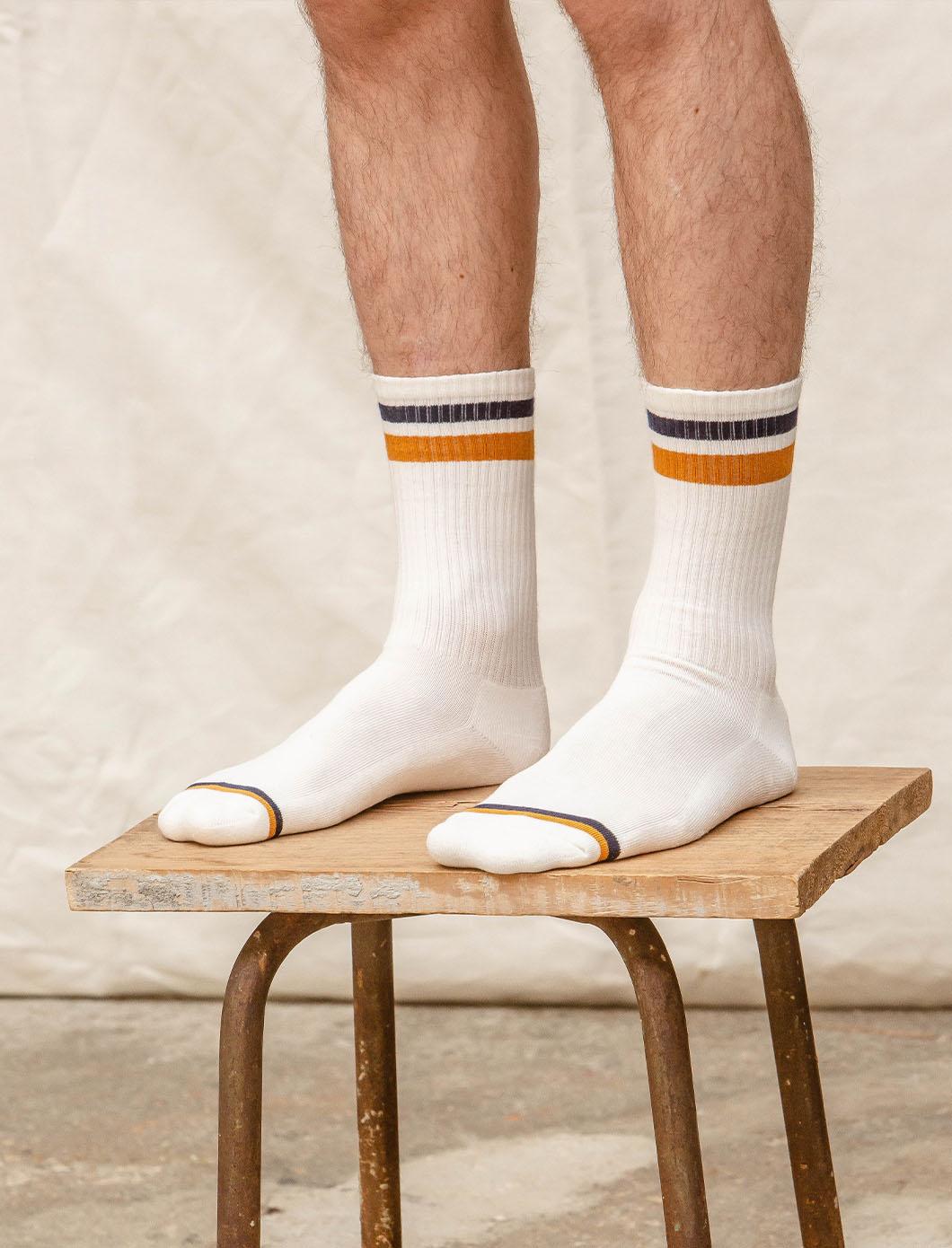 Chaussettes côtelées Sport - Blanc, marine et moutarde