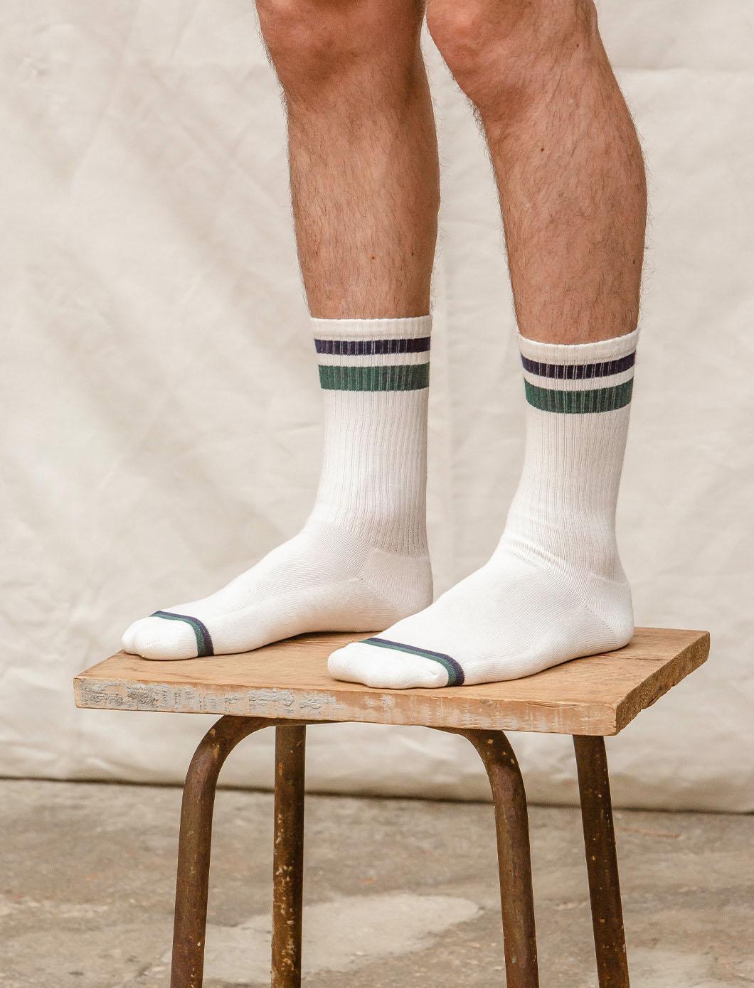Chaussettes côtelées Sport - Blanc, marine et sapin