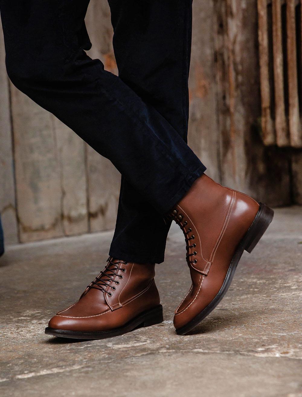 Combat boots Classique - Havane et écru