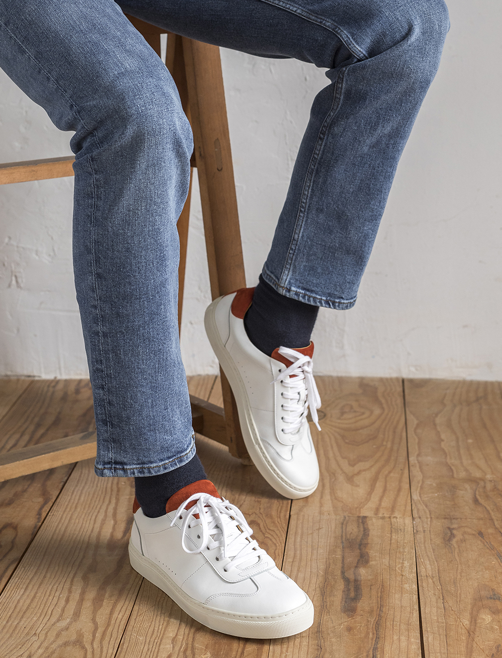 Sneakers Rick - Blanc et terracotta