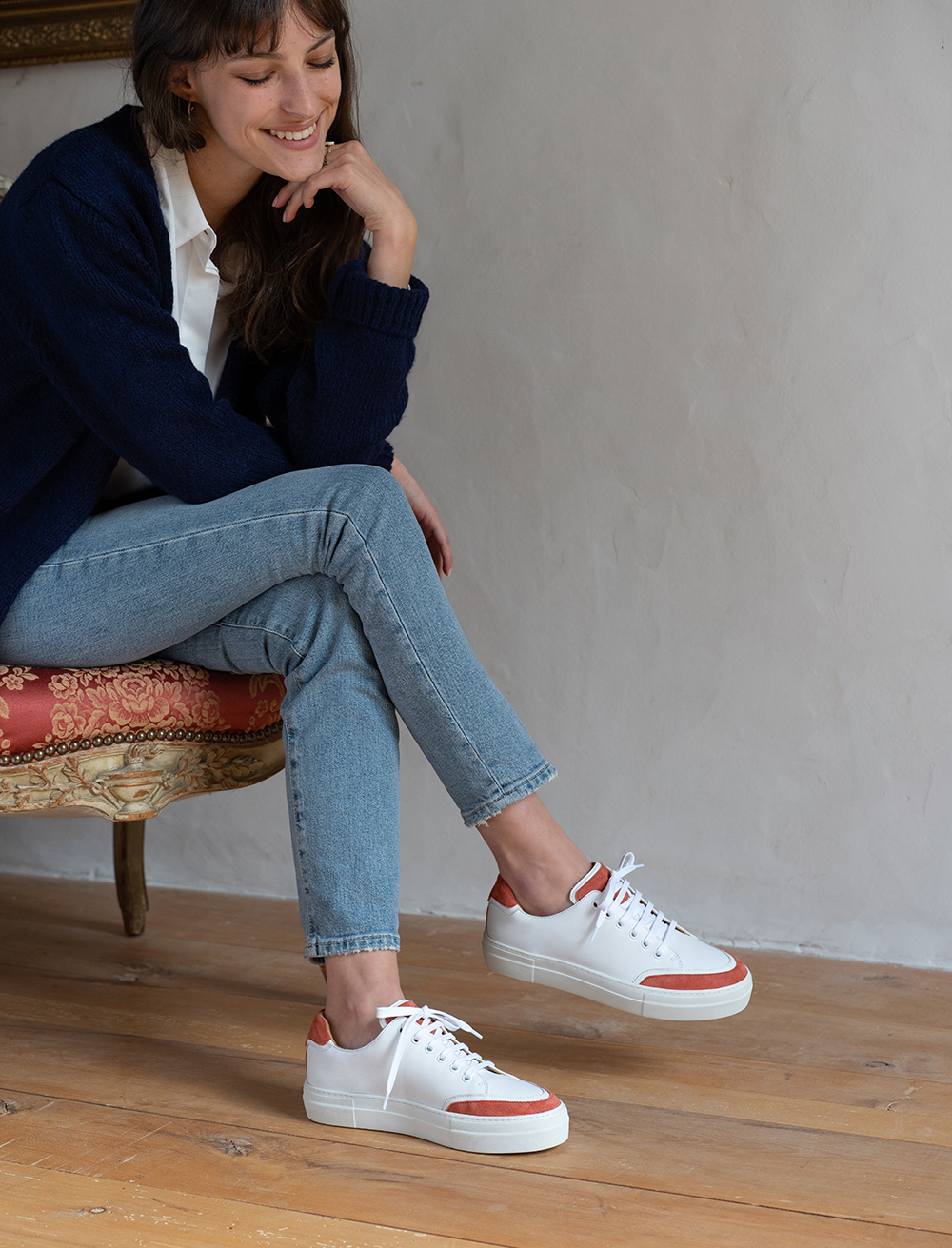 Sneakers Suzanne - Blanc et tuile