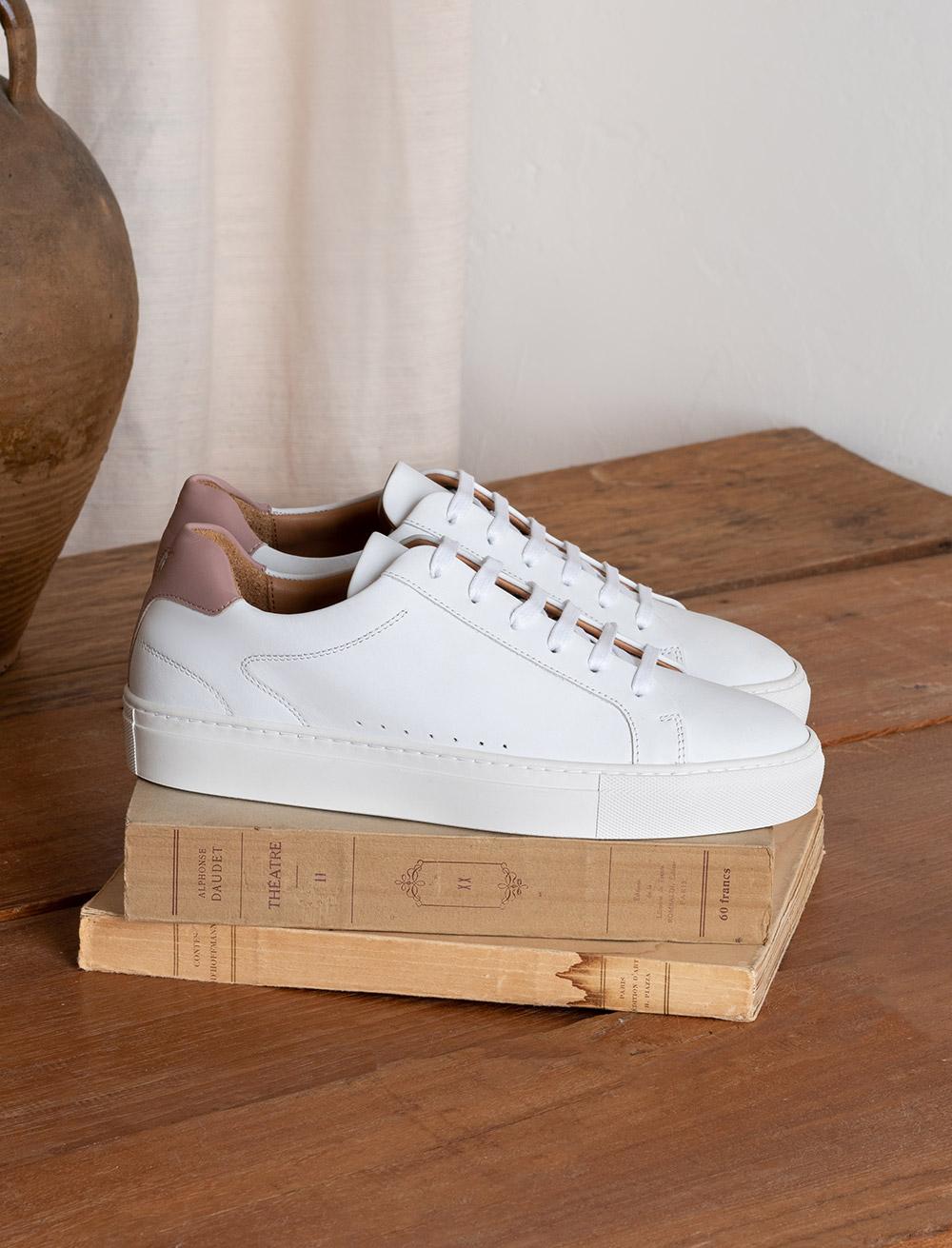Sneakers Camille - Blanc et vieux rose