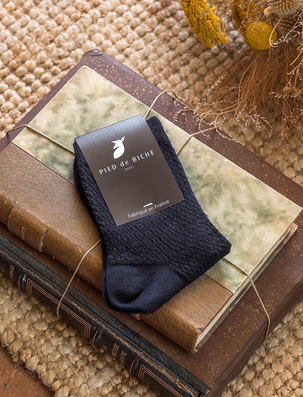 Chaussettes gaufrées - Bleu nuit
