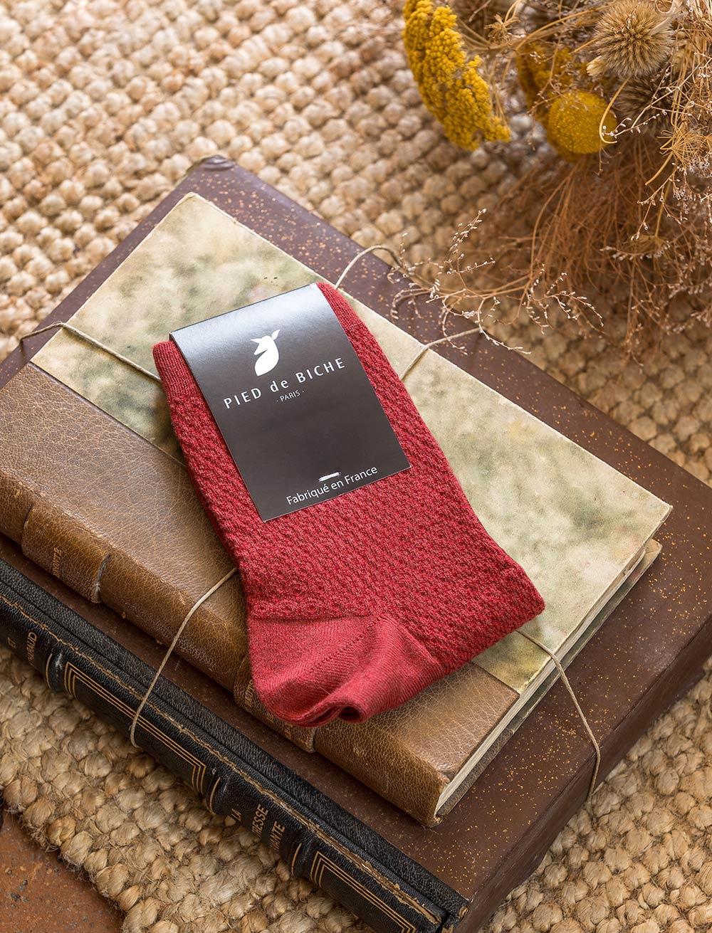 Chaussettes gaufrées - Brique