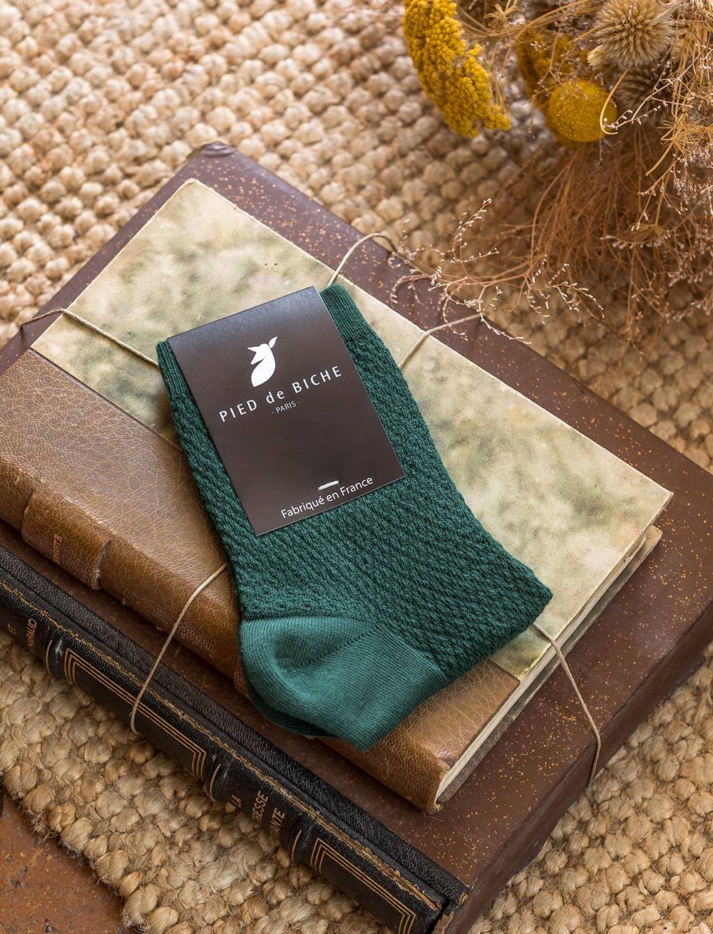 Chaussettes gaufrées - Vert sapin