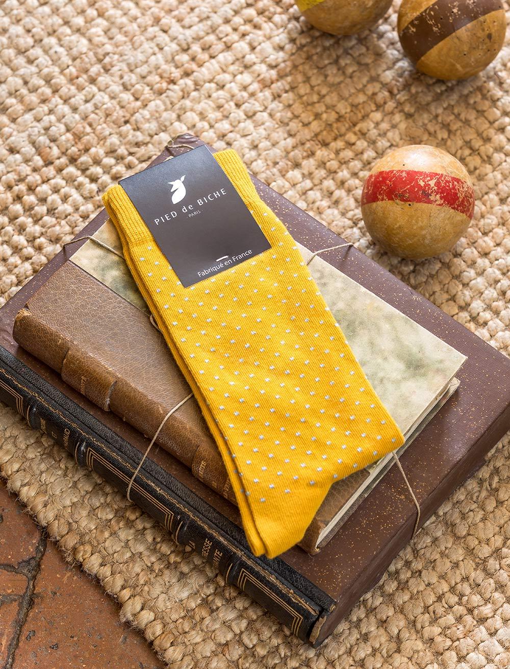 Chaussettes - Moutarde à pois
