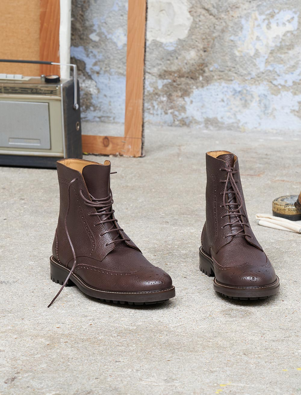 Wingtip boots - Chocolat grainé