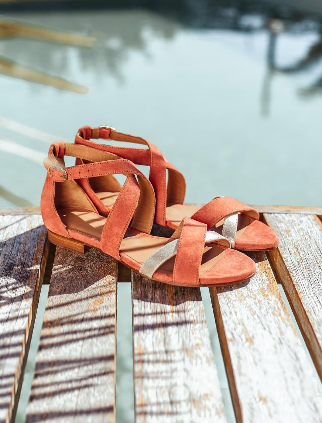 Sandales Maradji - Brique et doré