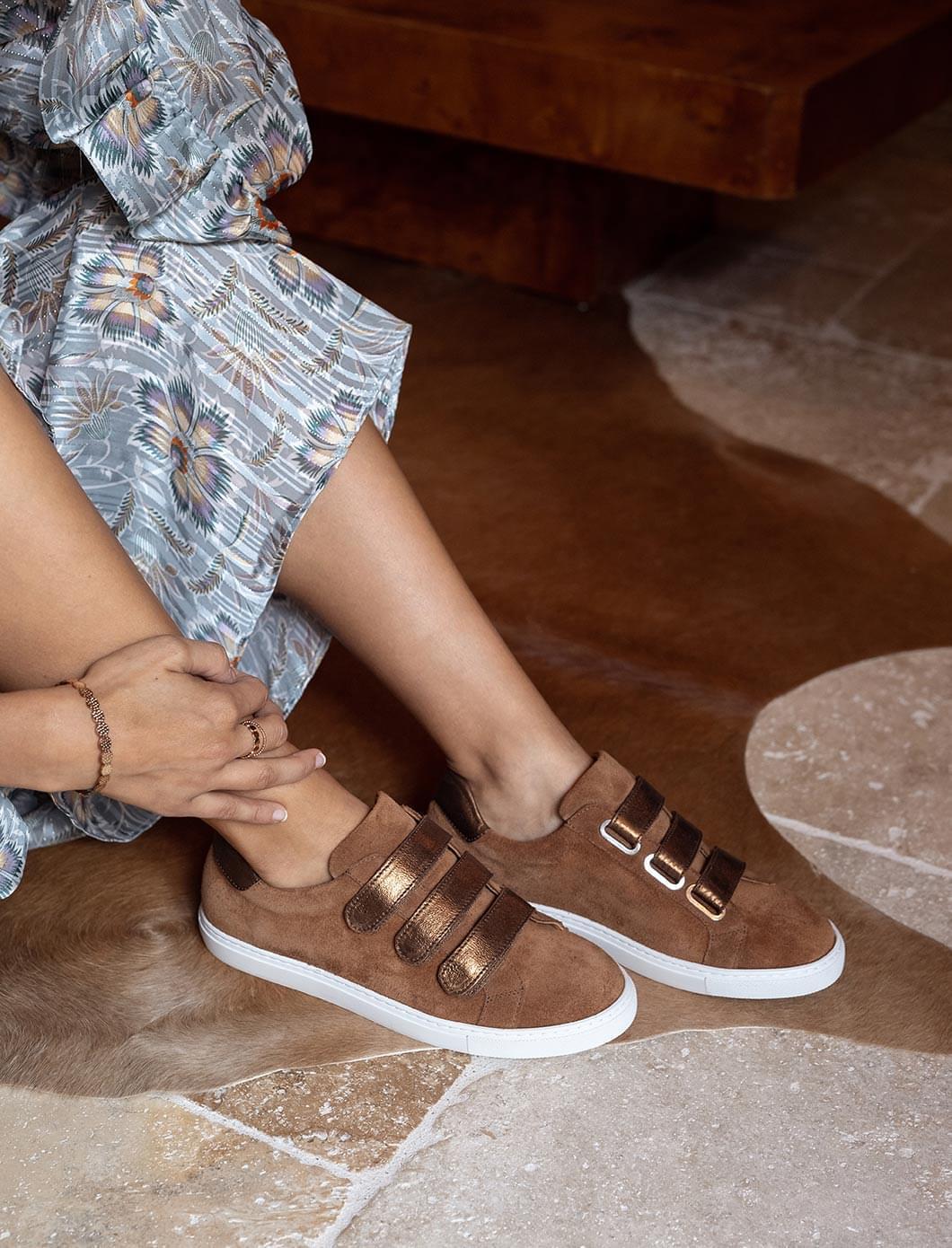 Sneakers - Fauve à paillettes