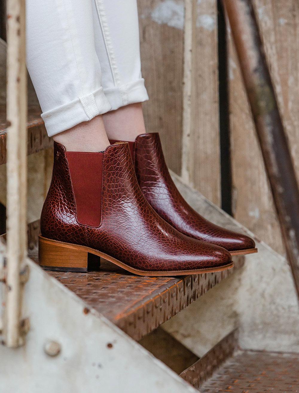 Chelsea boots Amy - Grenat Écaille