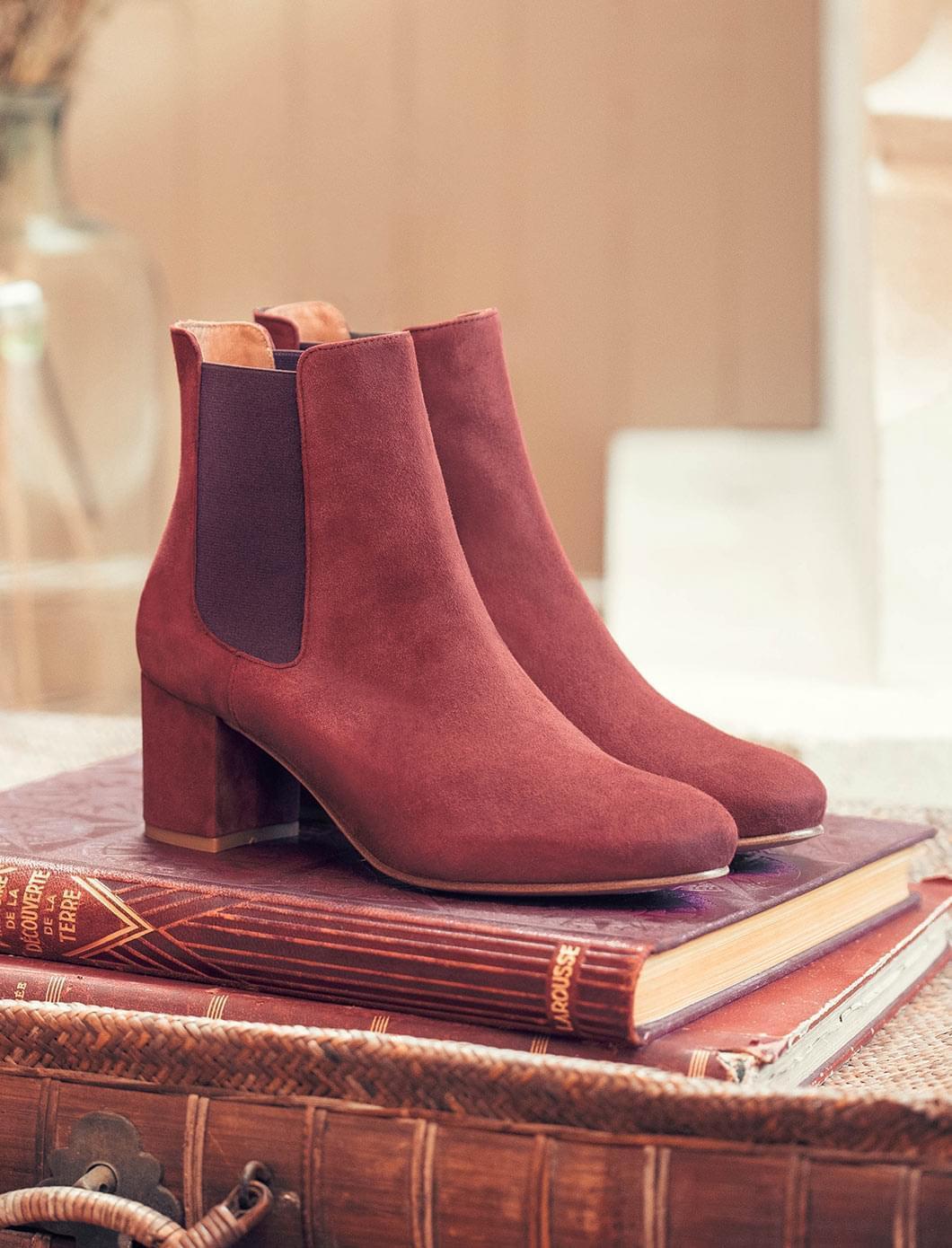 Chelsea boots à talon - Rouille et aubergine