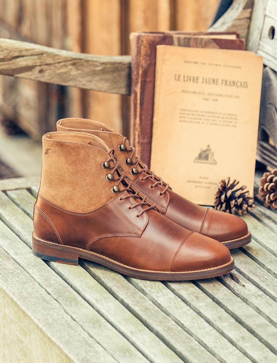 Combat boots derby - Havane