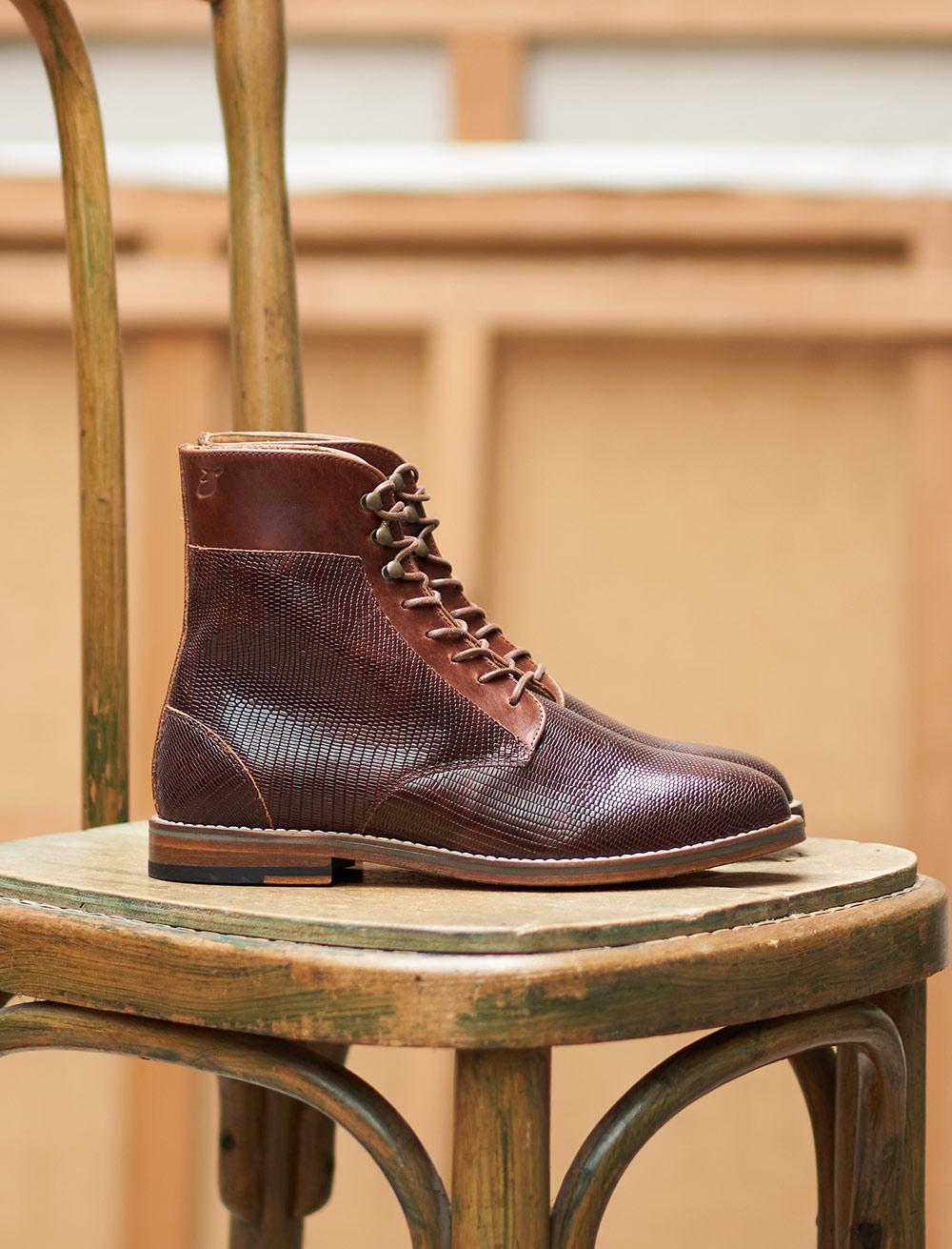 Combat boots Gabrielle - Acajou Lézard