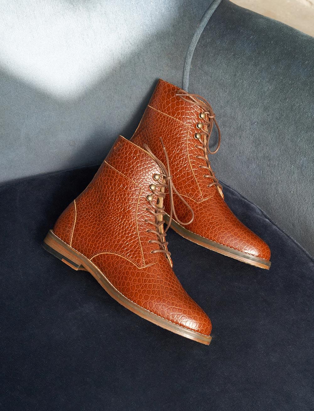 Combat boots Gabrielle - Cognac Écaille