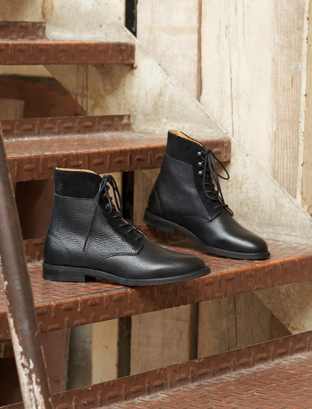 Combat boots Gabrielle - Noir grainé