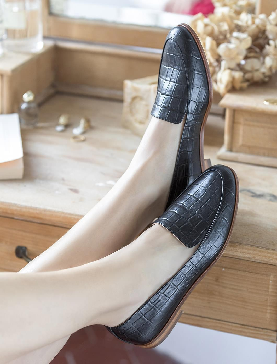 Mocassins Croco - Noir