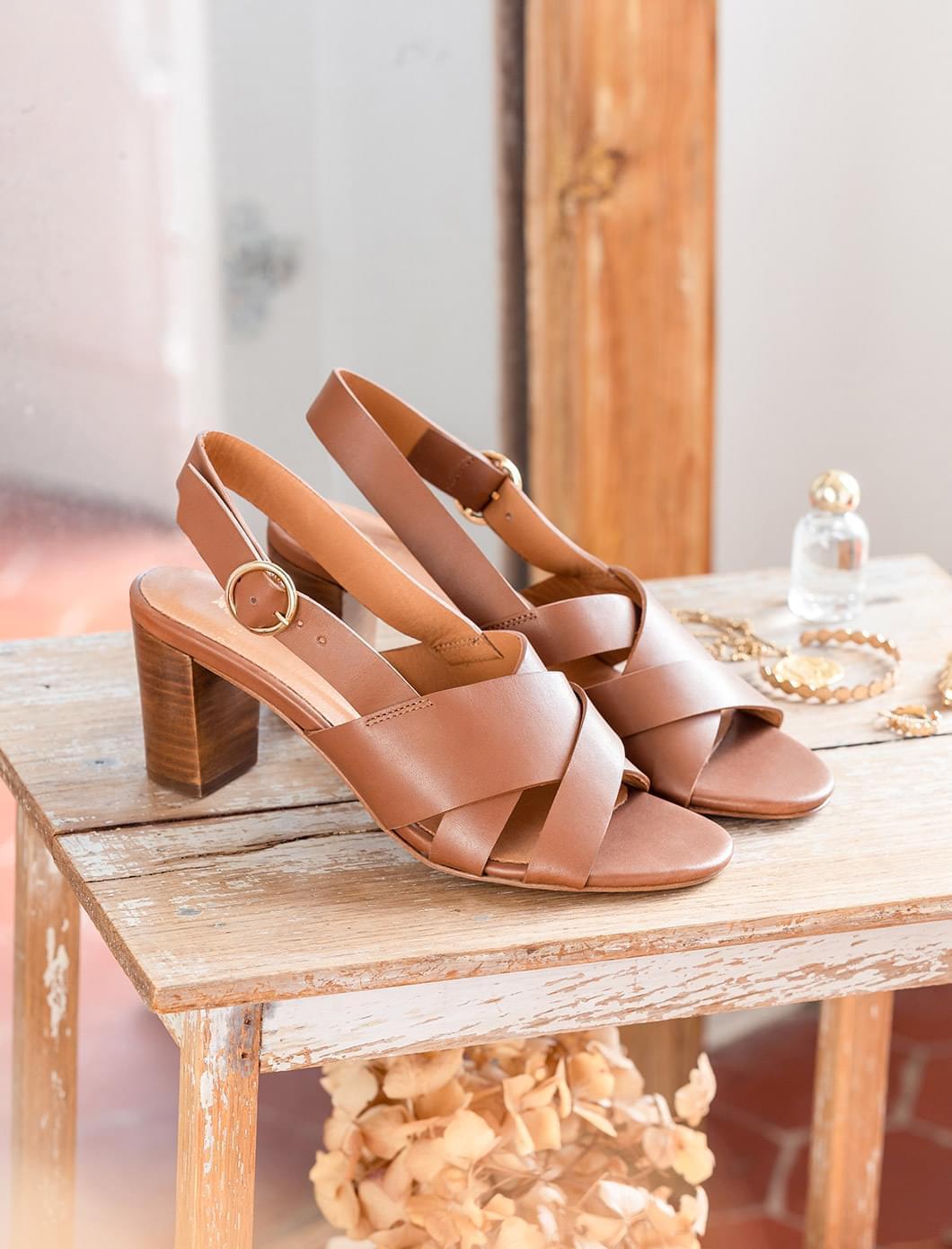 Sandales à talons Giulia - Cognac
