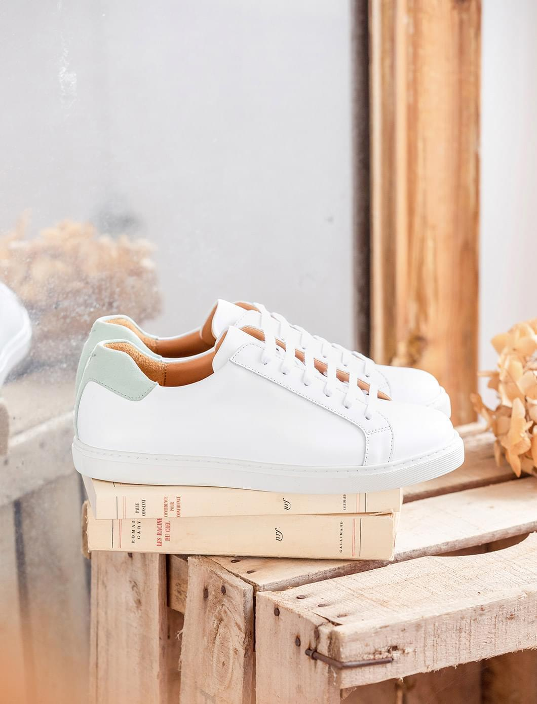 Sneakers Olivia - Blanc et menthe