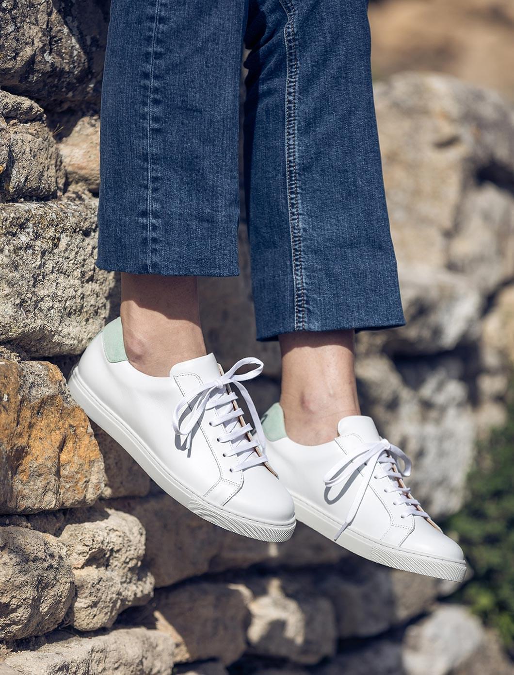 Sneakers - Blanc et menthe