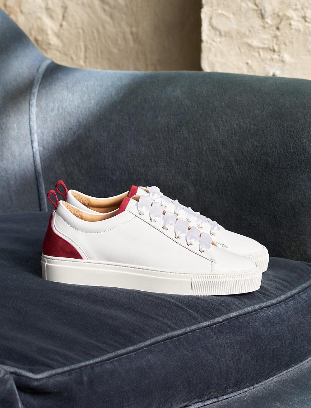 Sneakers Lola - Blanc et grenat