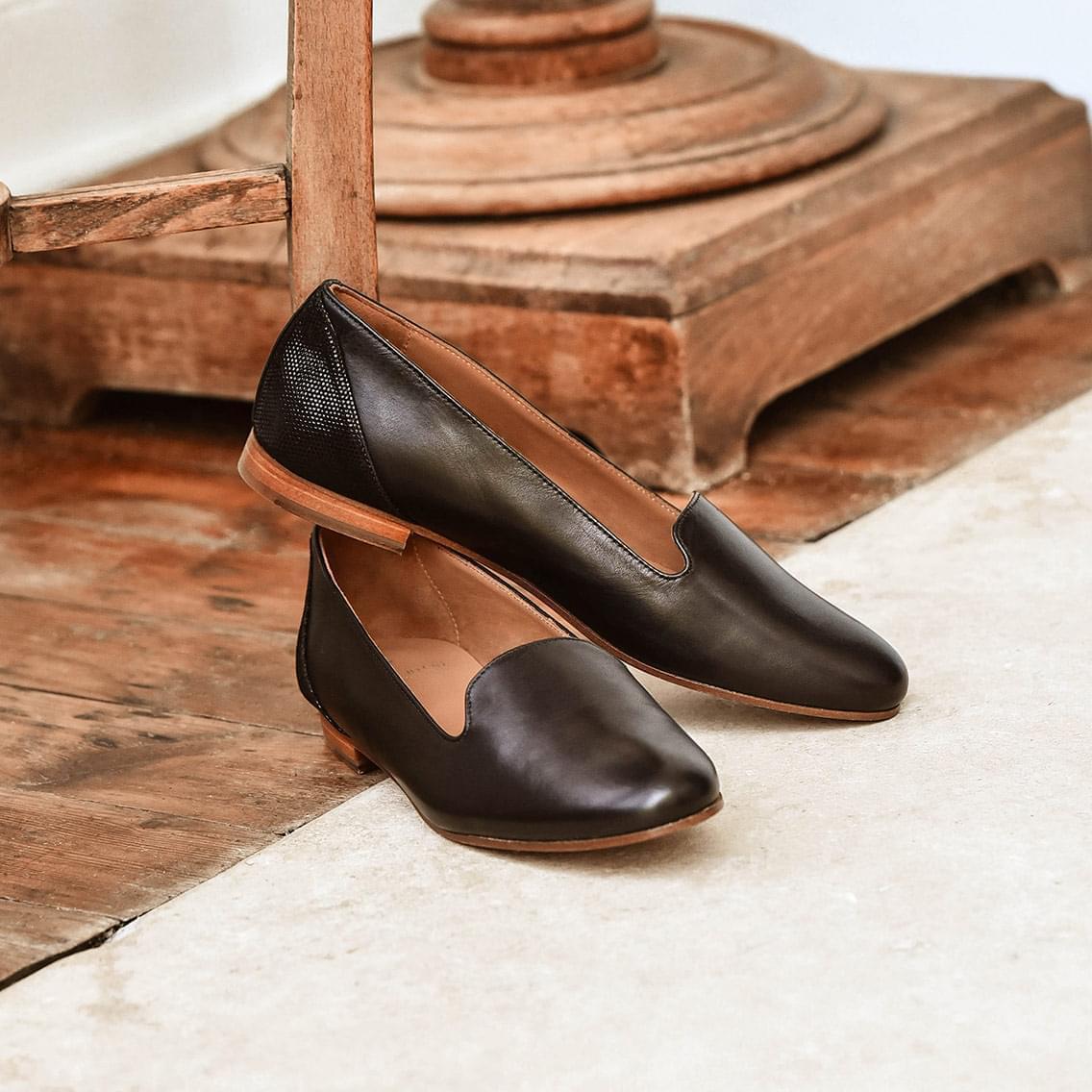 styles de variété de 2019 Quantité limitée vente en magasin Slippers pour Femme : Chaussures en Cuir - Pied de Biche